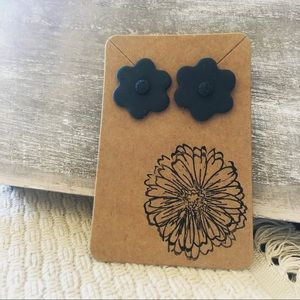 Deep blue green floral polymer clay earrings